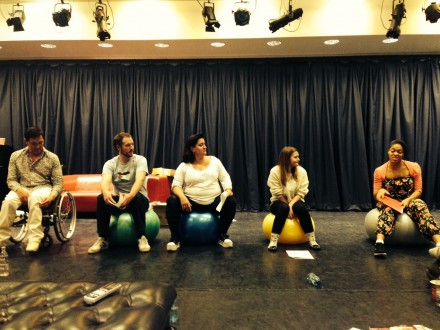 Day 1: The Body Gossip cast rehearse a scene on our set of Pilates balls!